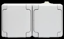Gniazdo podwójne klapka biała, 180436 BRYZA